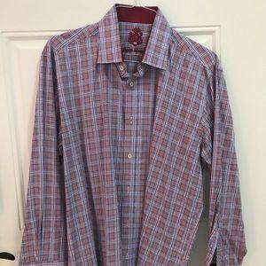Men's Red Plaid Cotton Dress Shirt 17